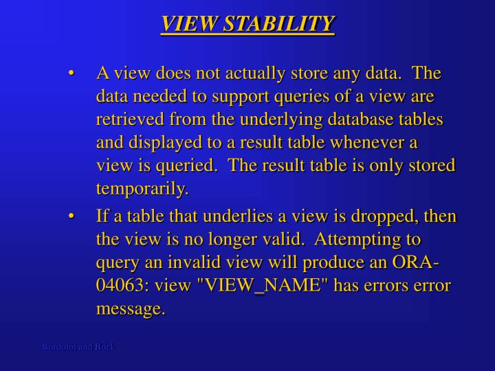 VIEW STABILITY