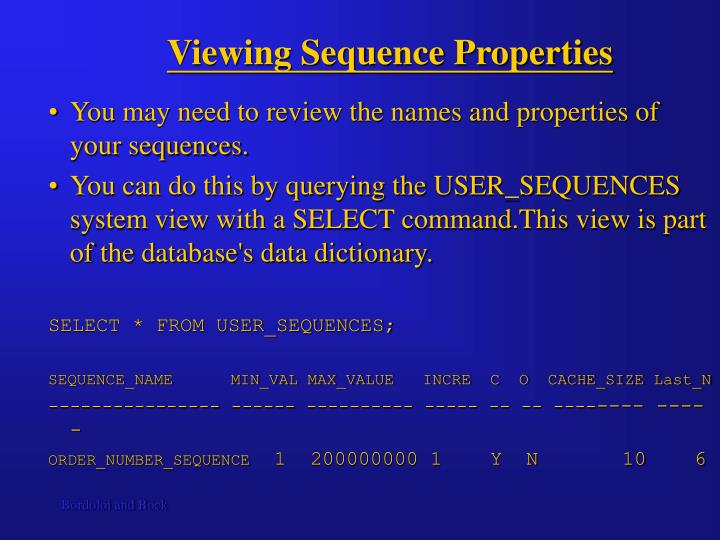 Viewing Sequence Properties