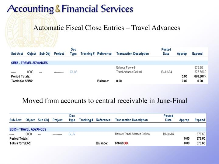 Automatic Fiscal Close Entries  Travel Advances