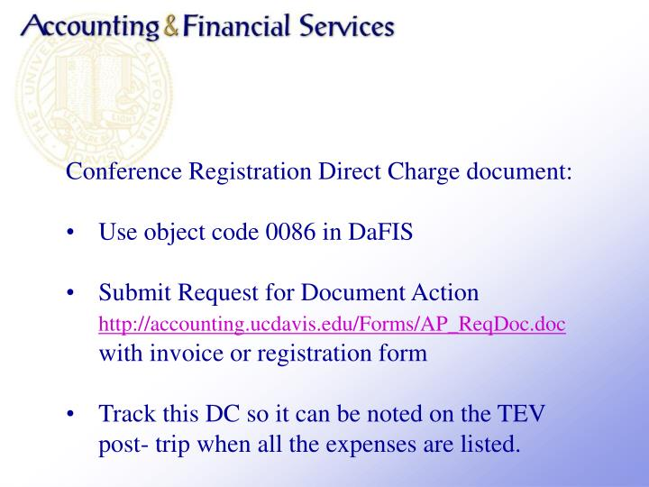 Conference Registration Direct Charge document: