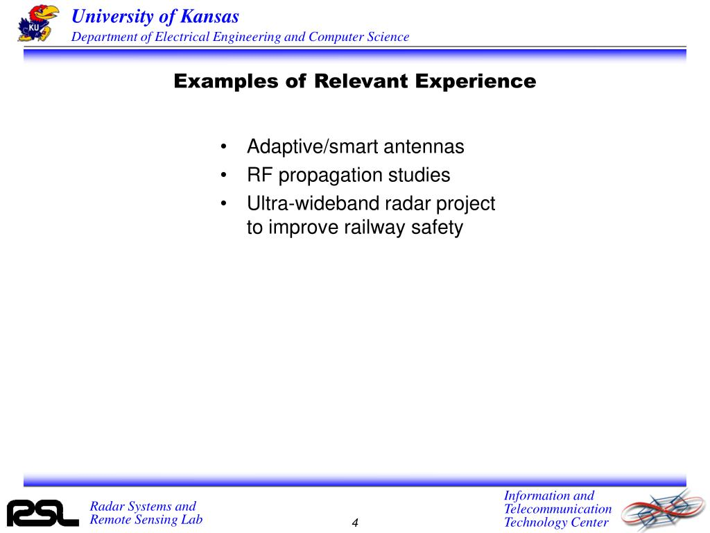 Examples of Relevant Experience