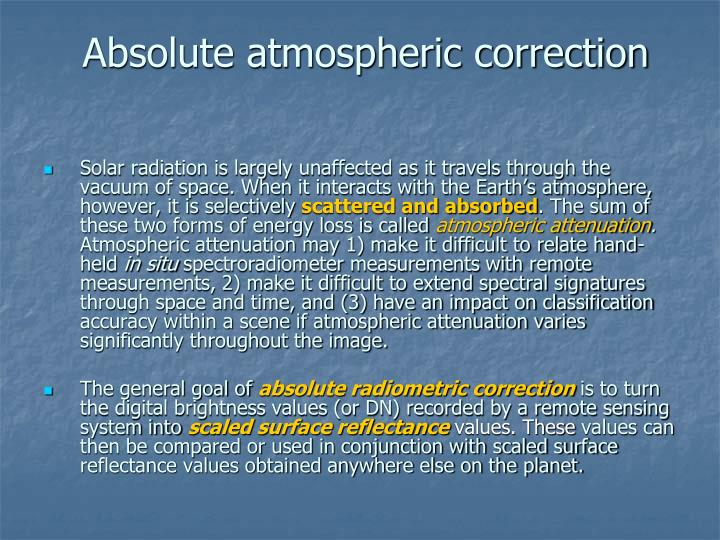 Absolute atmospheric correction