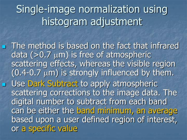 Single-image normalization using histogram adjustment