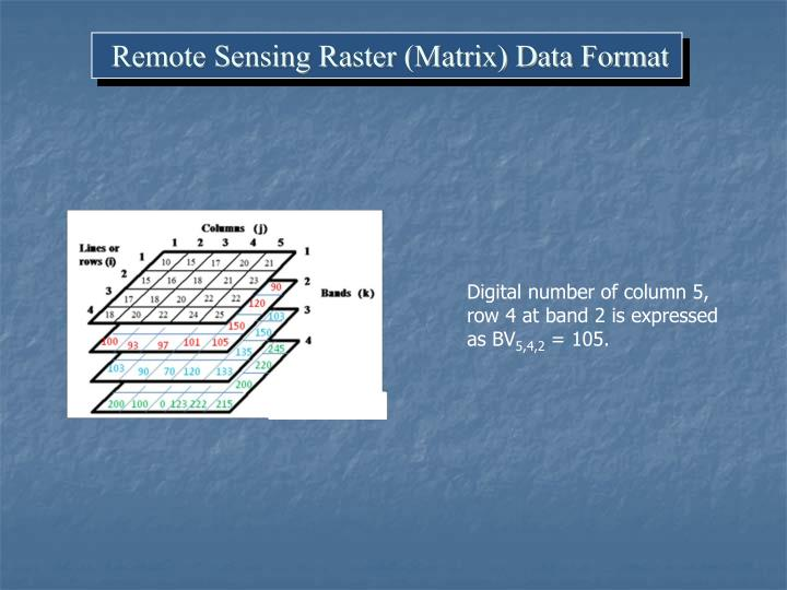 Remote Sensing Raster (Matrix) Data Format