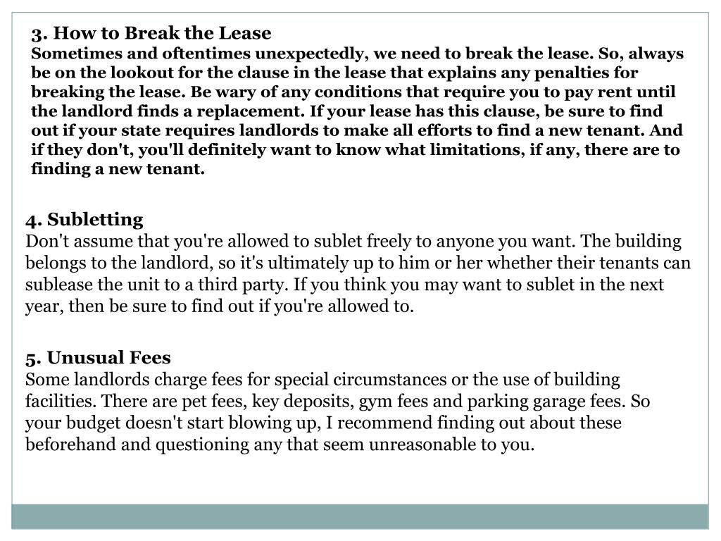 3. How to Break the Lease