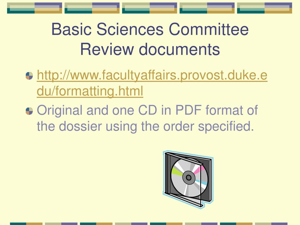 Basic Sciences Committee Review documents