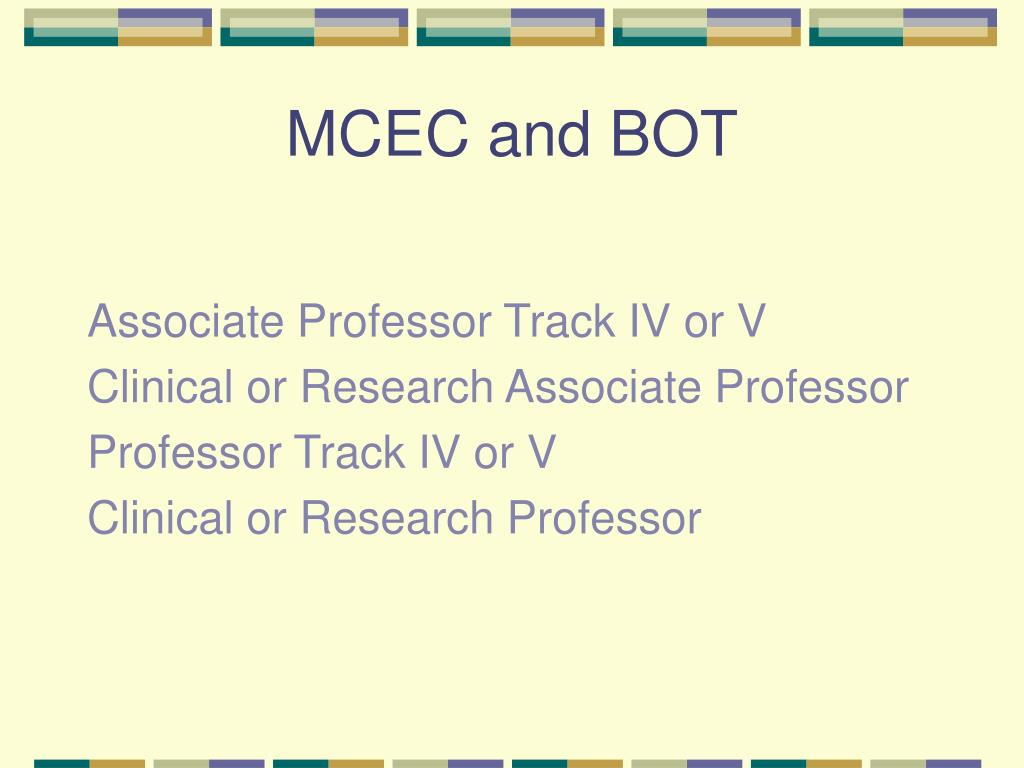 MCEC and BOT