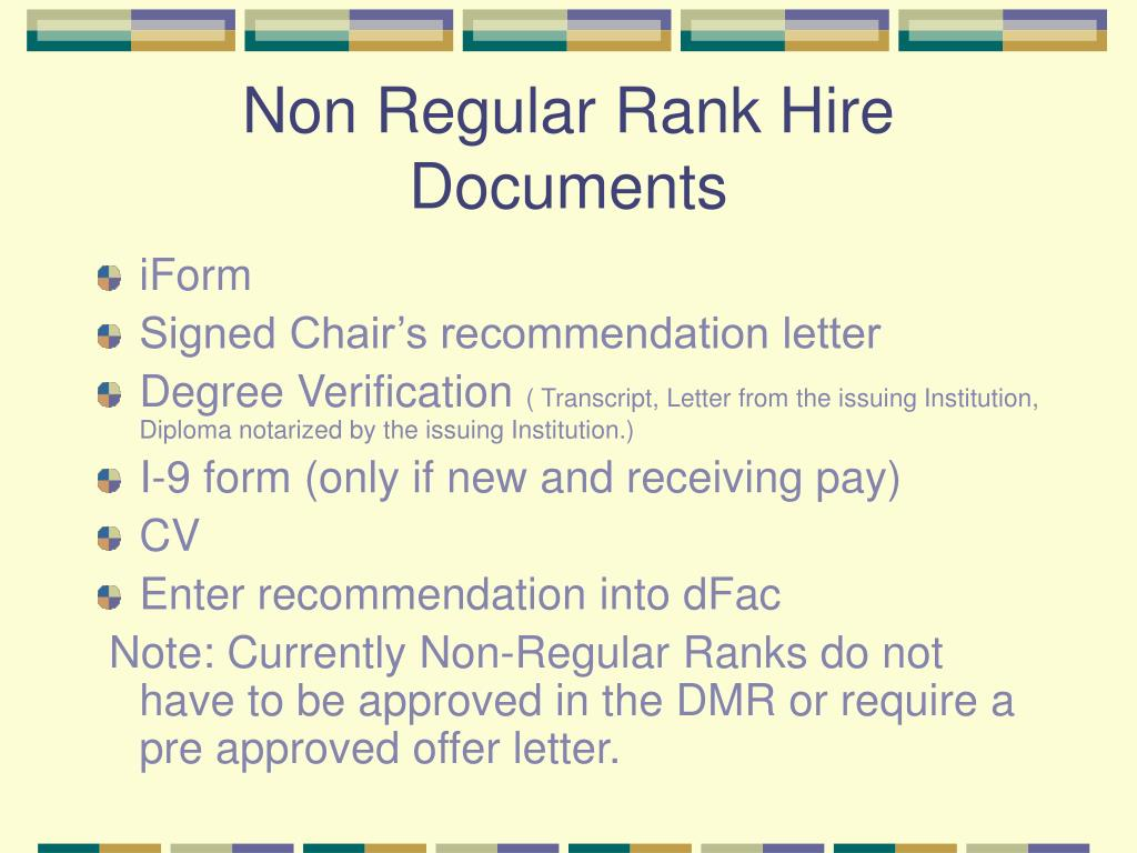 Non Regular Rank Hire Documents