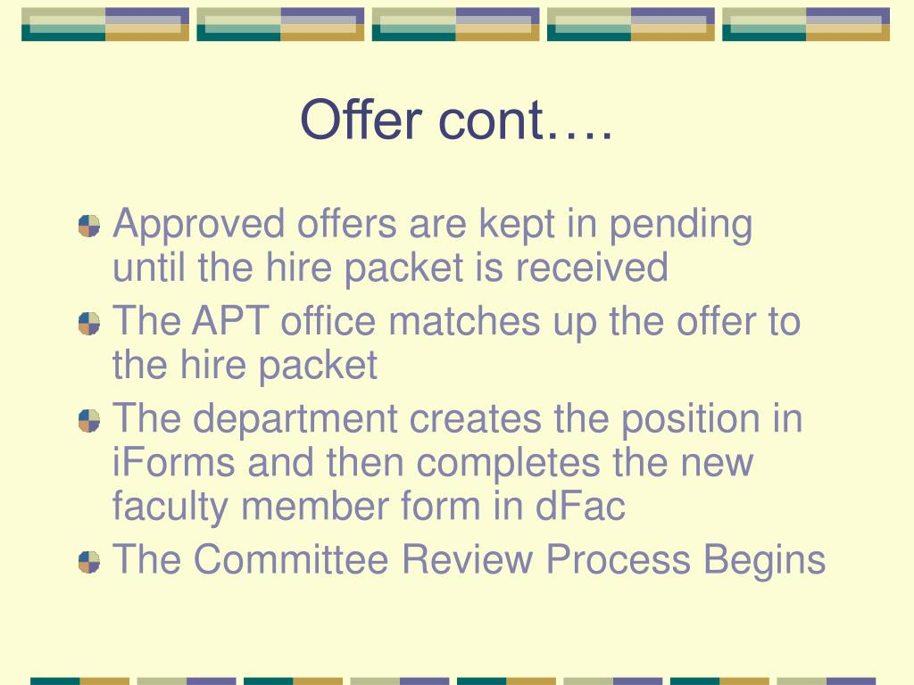 Offer cont….