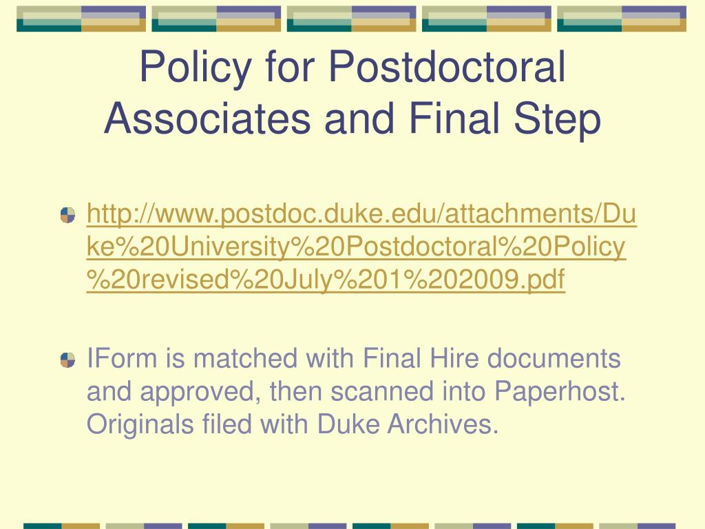 Policy for Postdoctoral Associates and Final Step