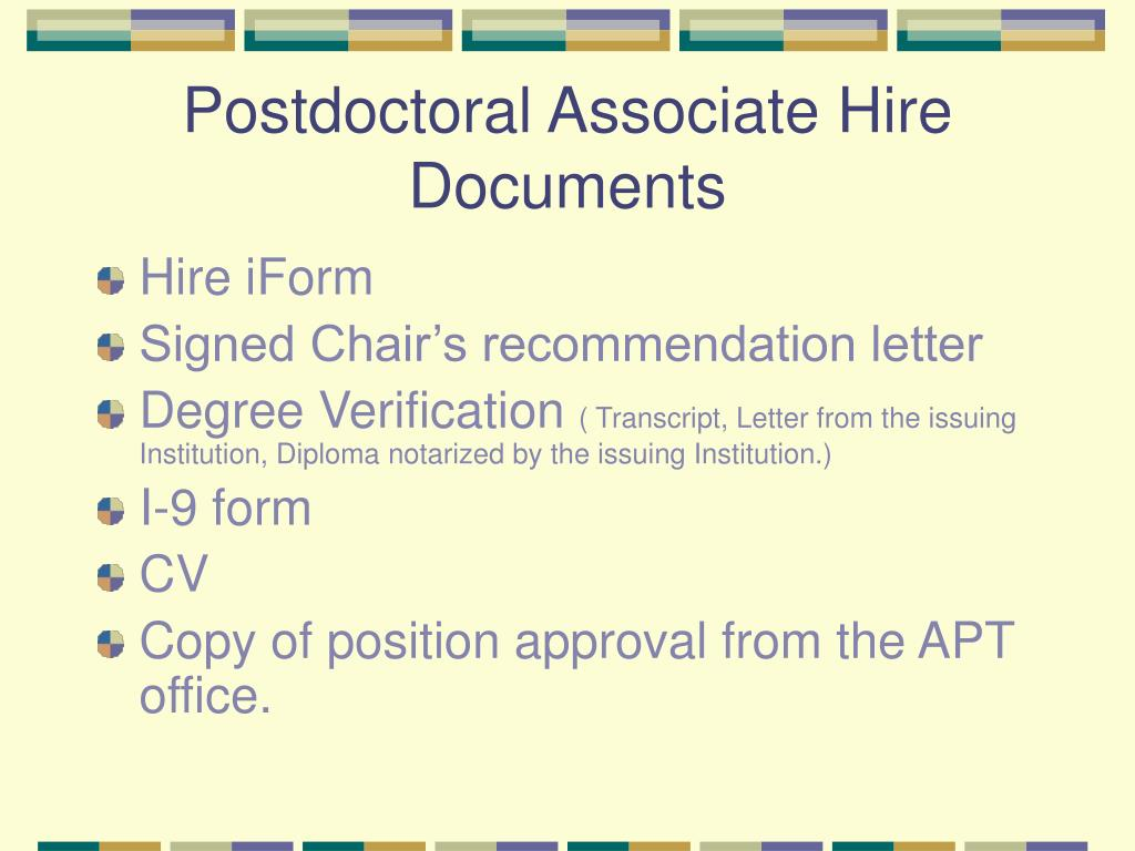Postdoctoral Associate Hire Documents