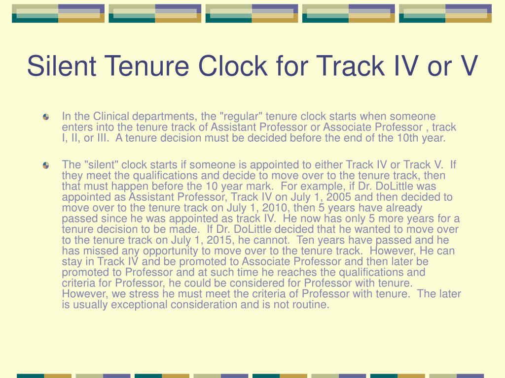 Silent Tenure Clock for Track IV or V