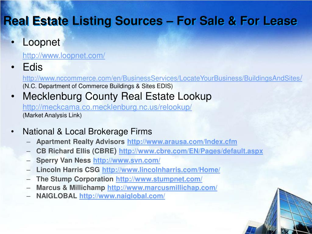 Real Estate Listing Sources – For Sale & For Lease