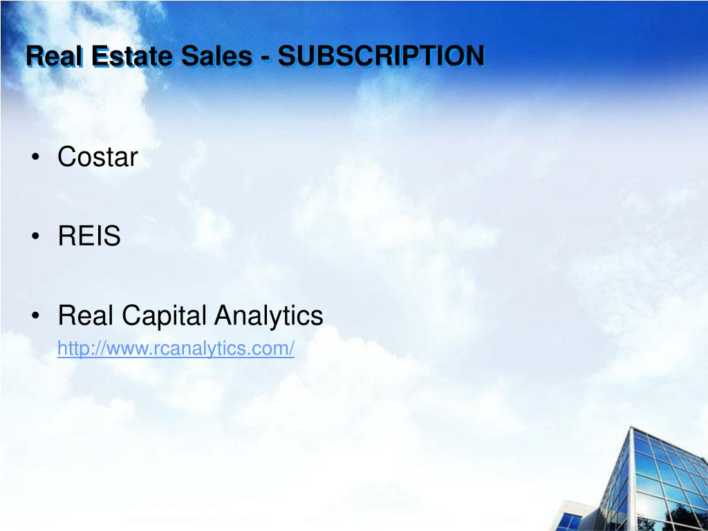Real Estate Sales - SUBSCRIPTION