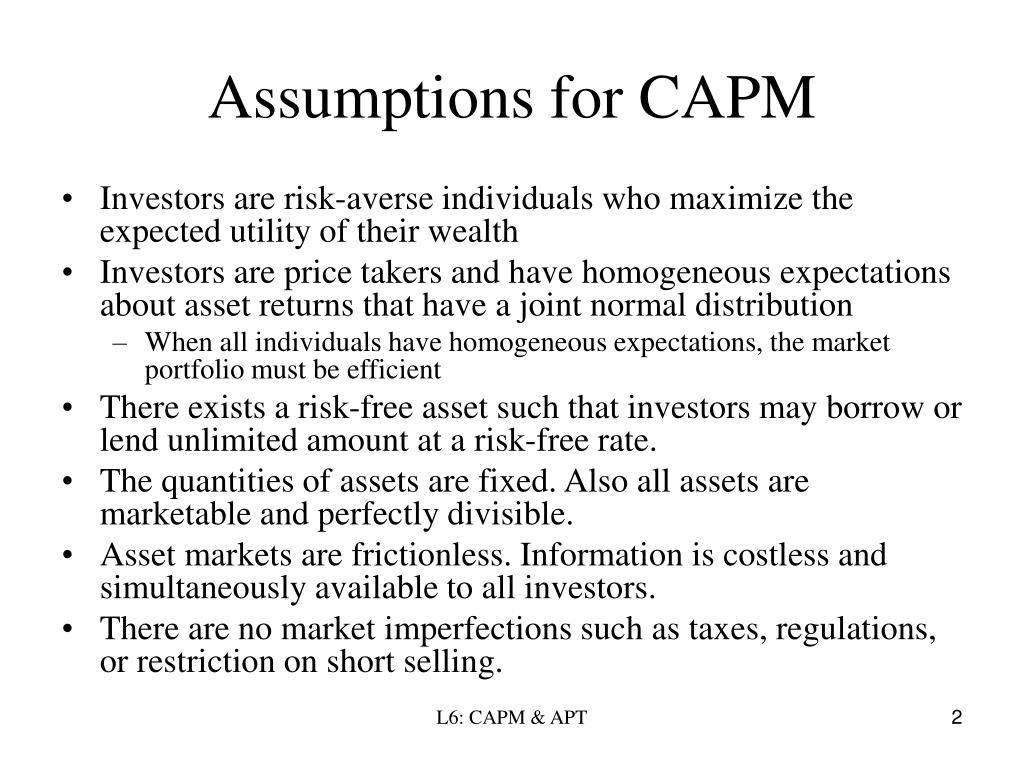 Assumptions for CAPM