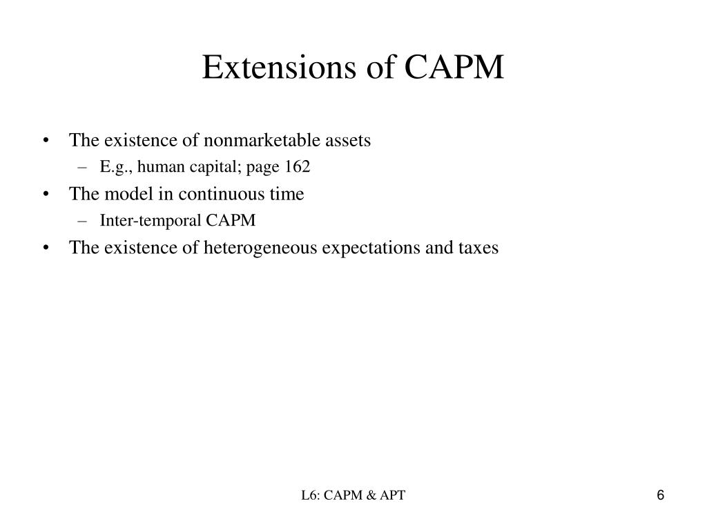 Extensions of CAPM