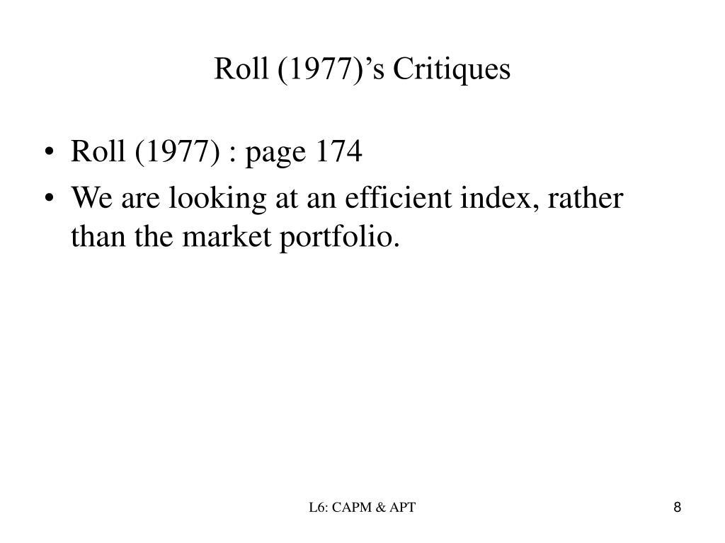 Roll (1977)'s Critiques