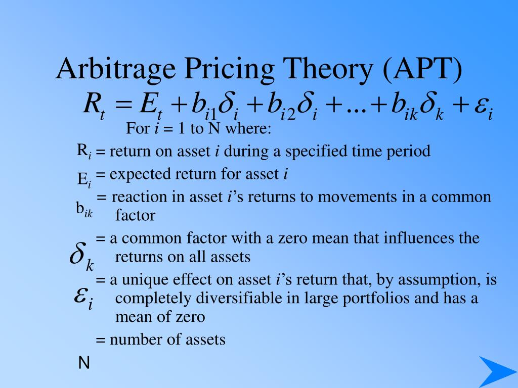 arbitrage pricing theory Focusing on asset returns governed by a factor structure, the apt is a one-period model, in which preclusion of arbitrage over static portfolios of these.