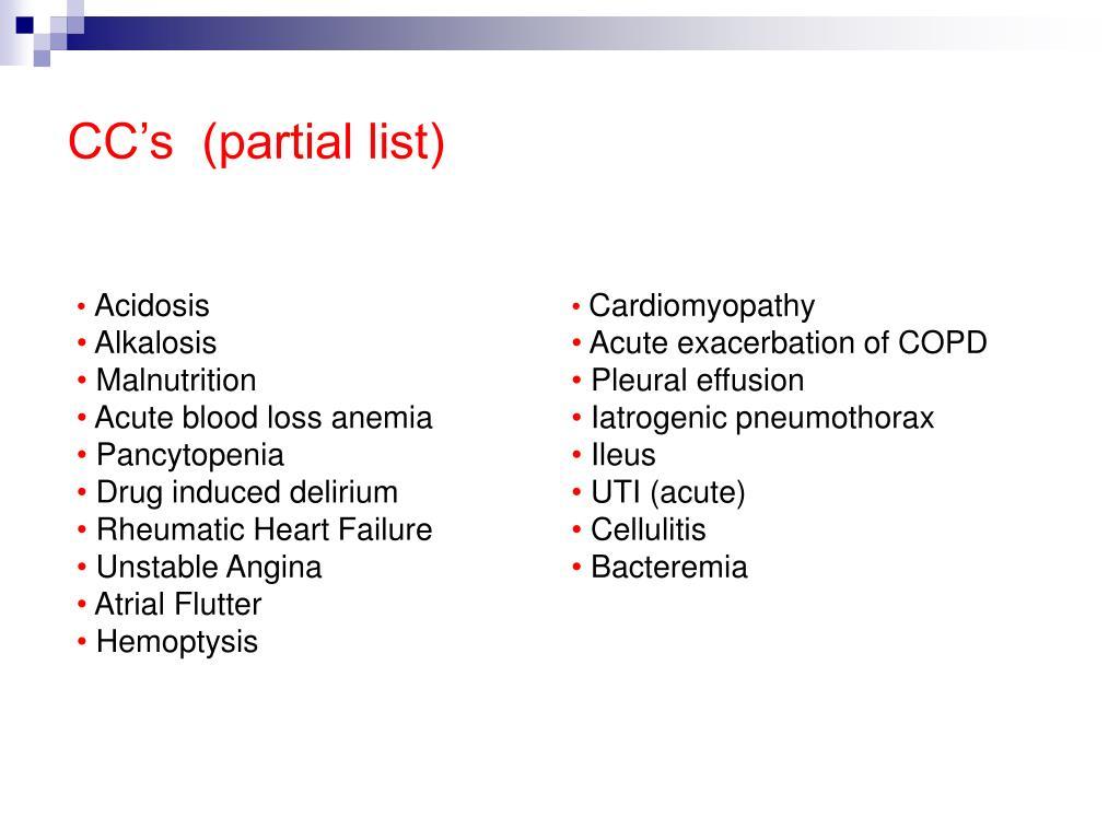 CC's  (partial list)