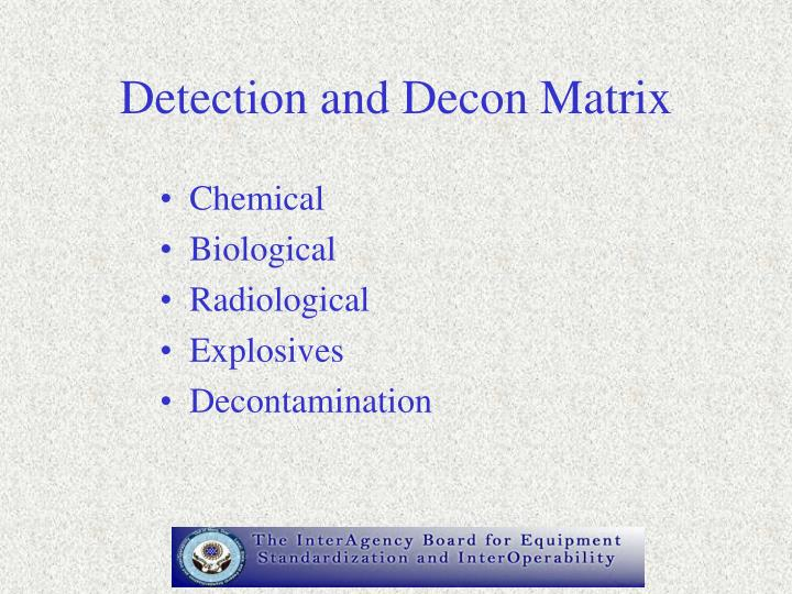Detection and Decon Matrix