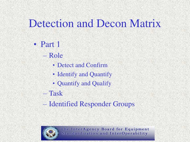 Detection and Decon Matrix