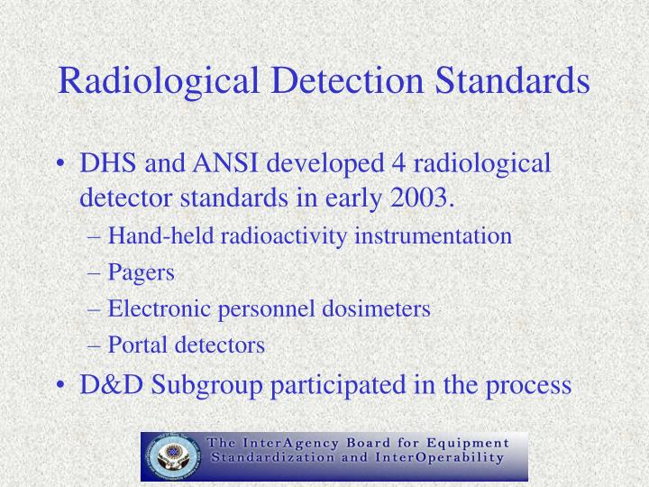 Radiological Detection Standards