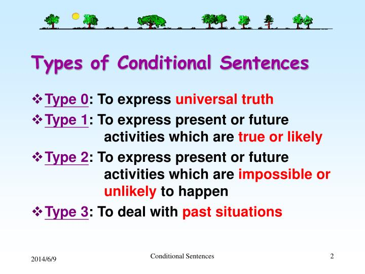 Types of conditional sentences
