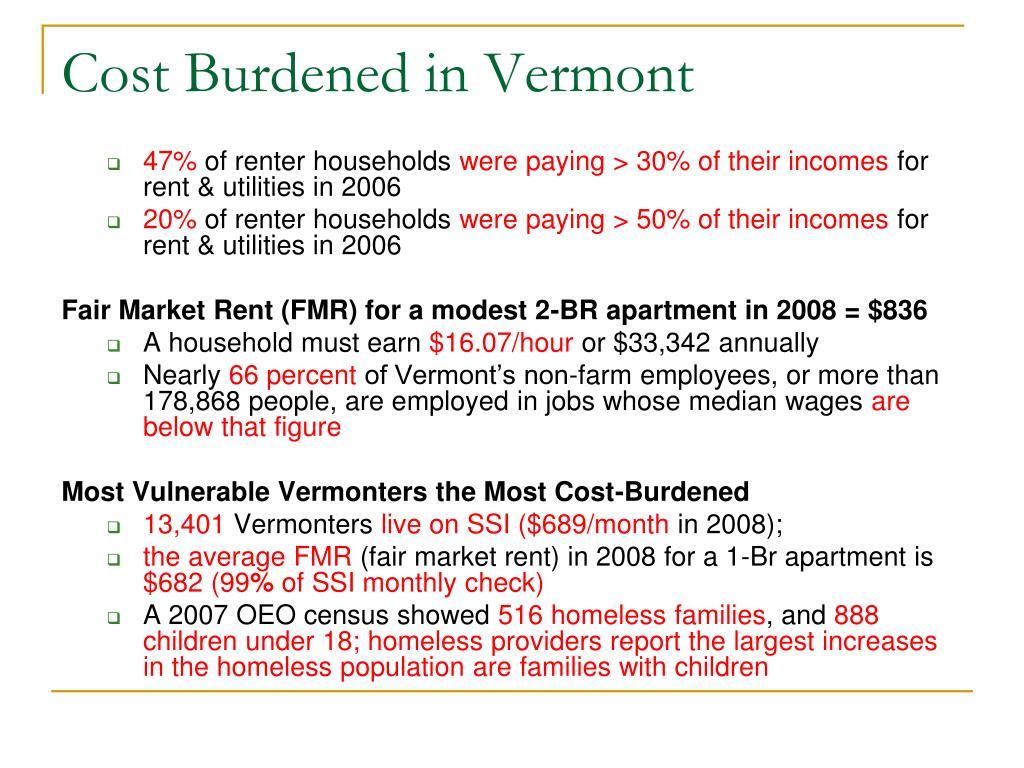 Cost Burdened in Vermont