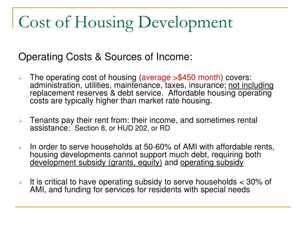 Cost of Housing Development