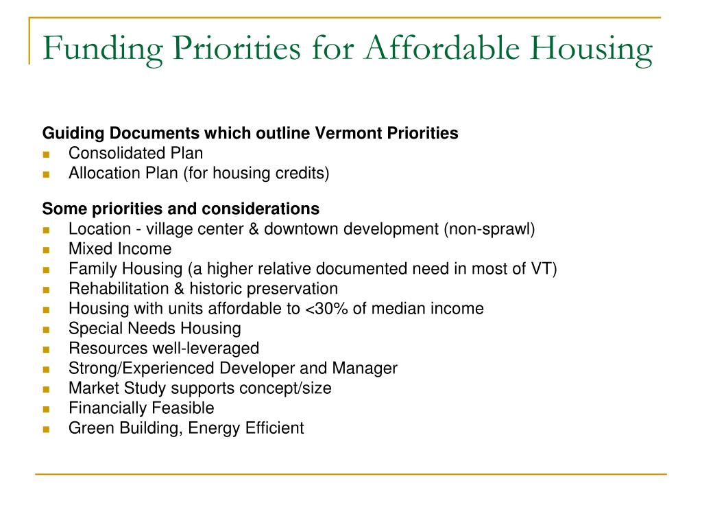 Funding Priorities for Affordable Housing