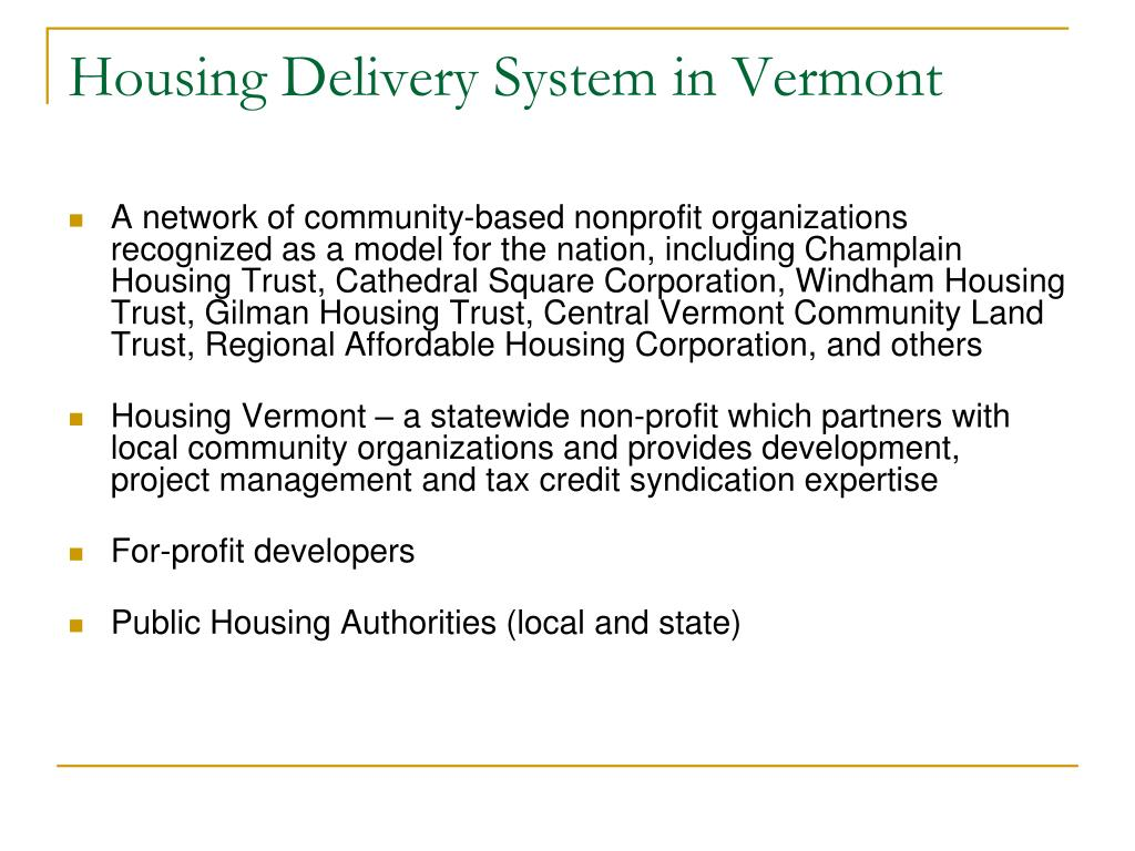 Housing Delivery System in Vermont