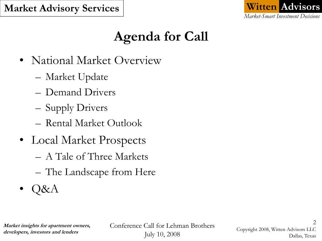 Agenda for Call