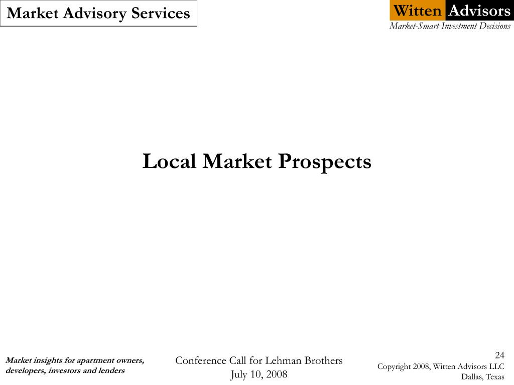 Local Market Prospects