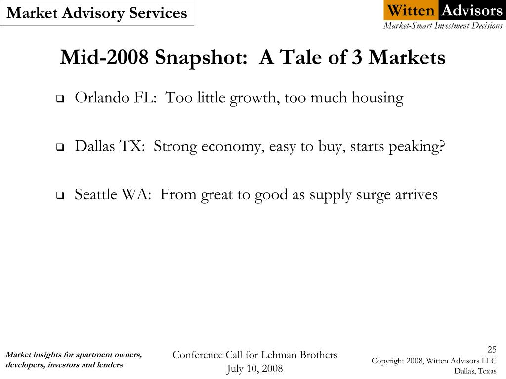 Mid-2008 Snapshot:  A Tale of 3 Markets