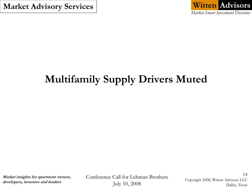 Multifamily Supply Drivers Muted