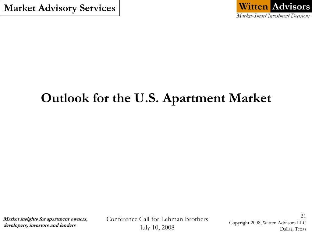 Outlook for the U.S. Apartment Market