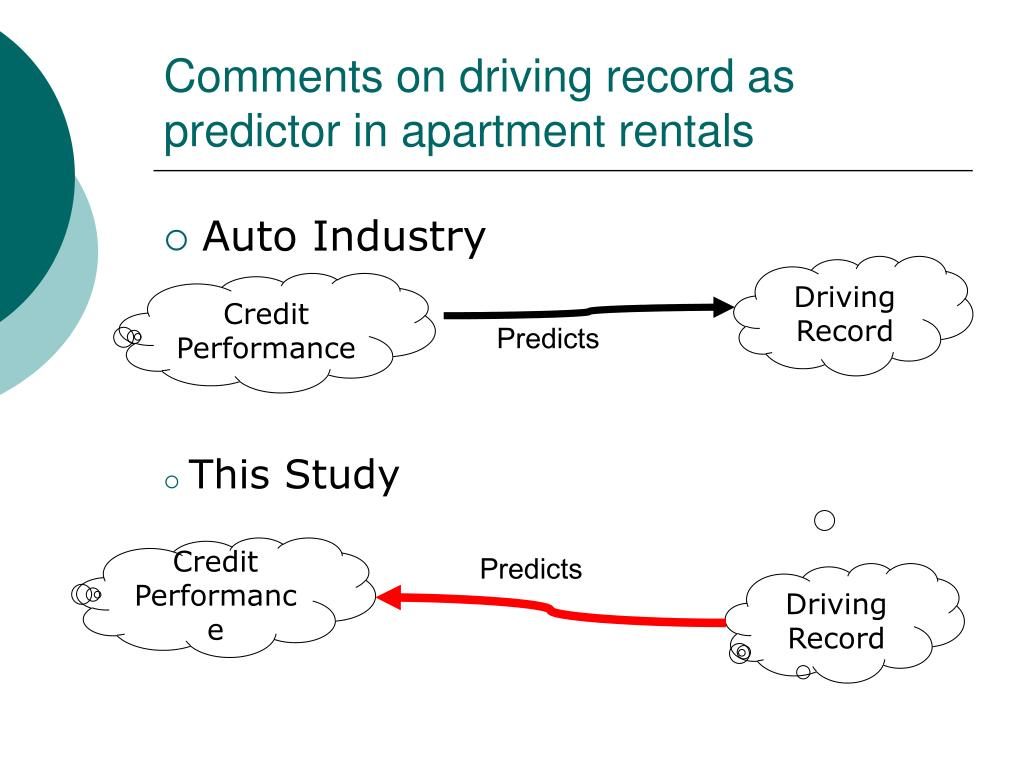 Comments on driving record as predictor in apartment rentals