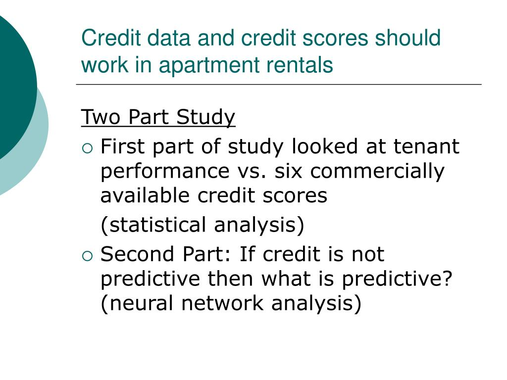 Credit data and credit scores should work in apartment rentals