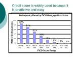 credit score is widely used because it is predictive and easy