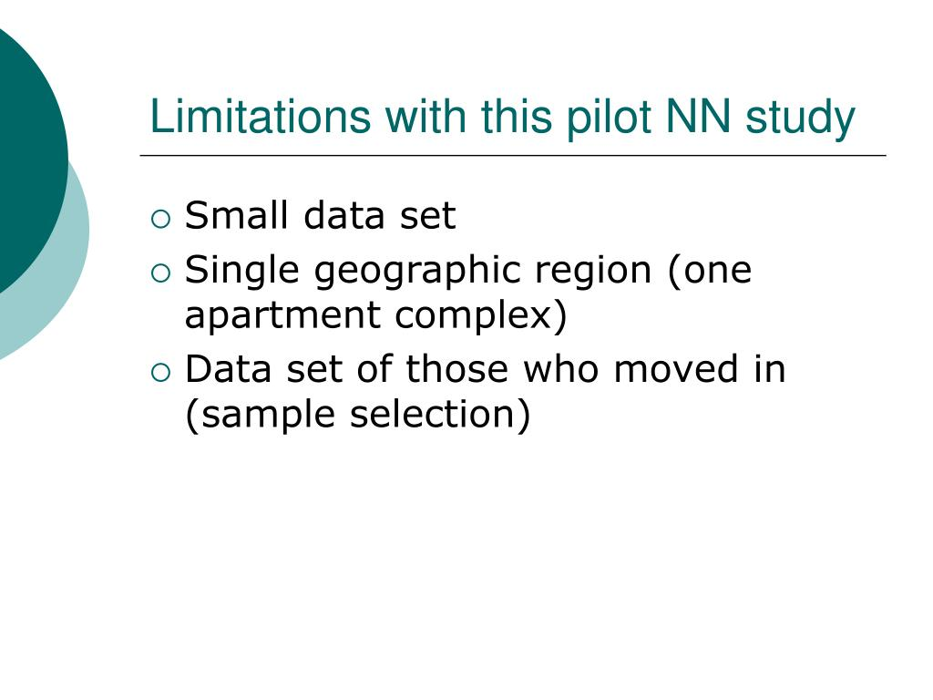 Limitations with this pilot NN study