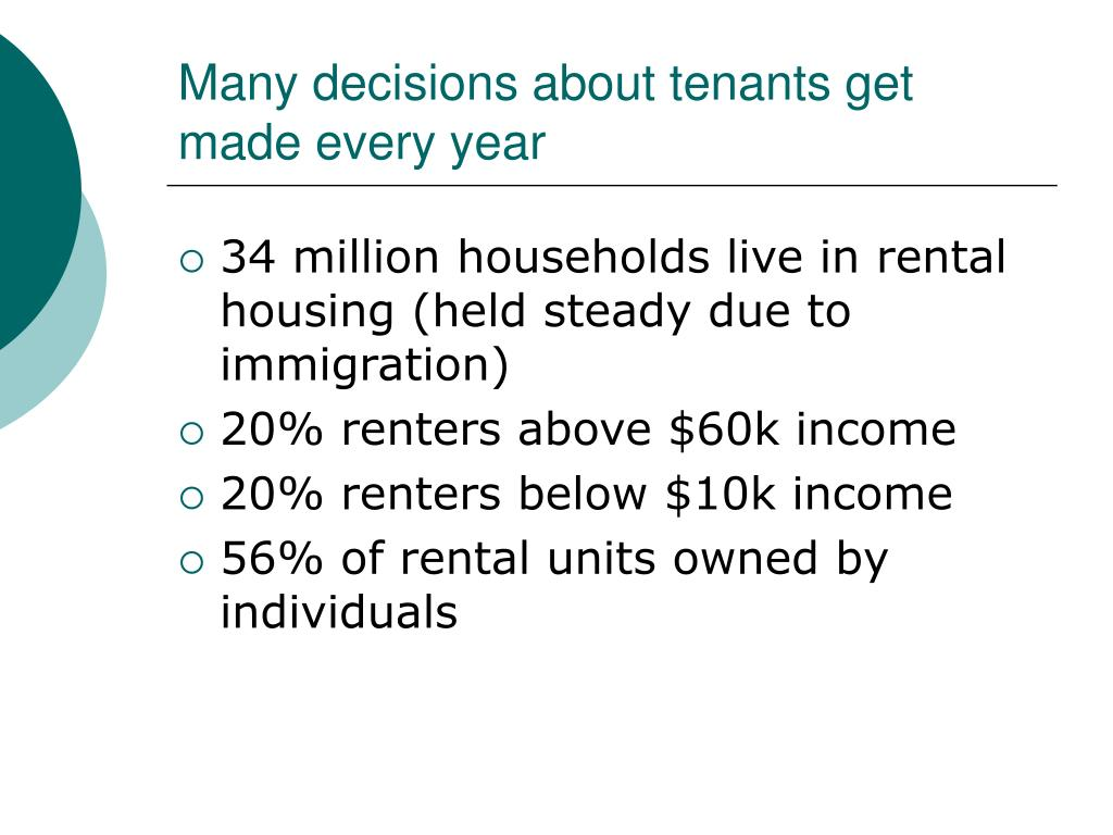 Many decisions about tenants get made every year