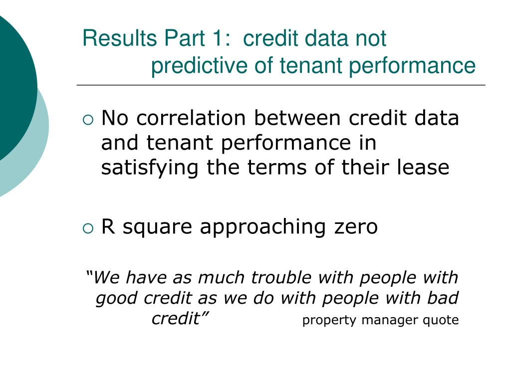 Results Part 1:  credit data not