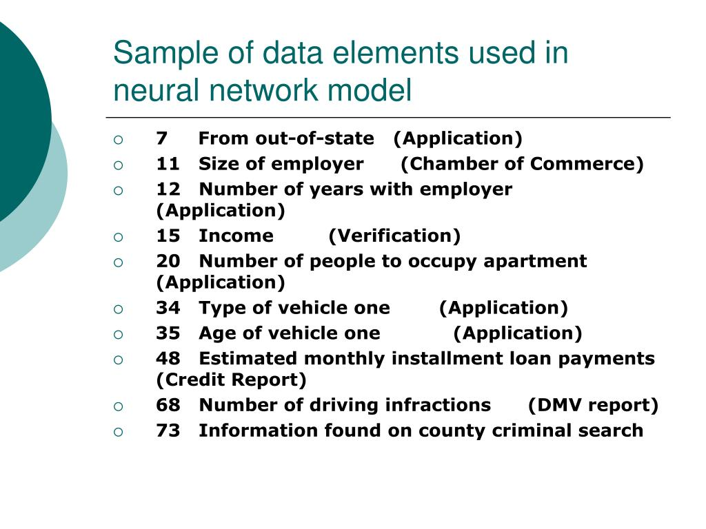 Sample of data elements used in neural network model