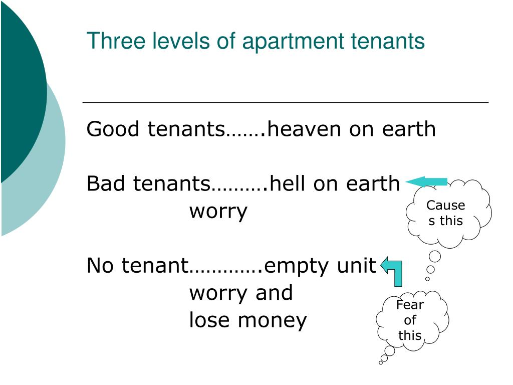 Three levels of apartment tenants