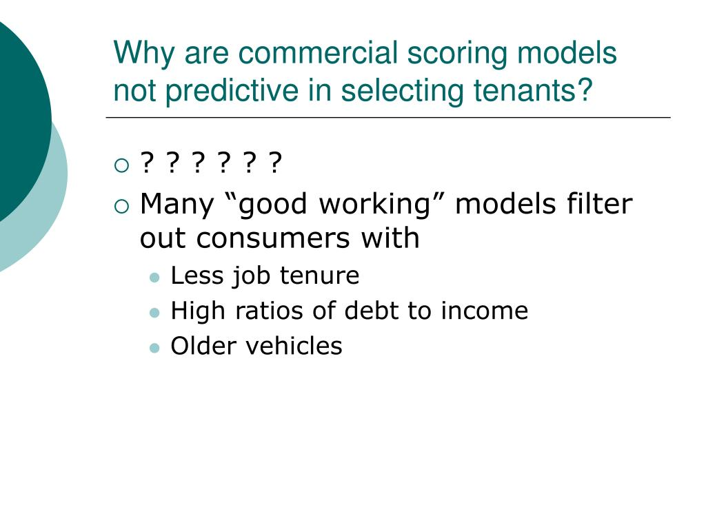 Why are commercial scoring models not predictive in selecting tenants?