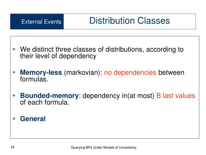 We distinct three classes of distributions, according to their level of dependency