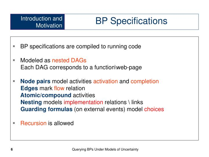 BP specifications are compiled to running code