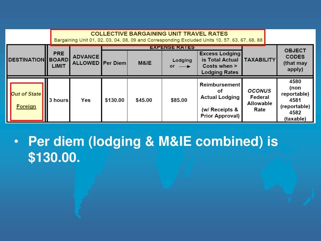 Per diem (lodging & M&IE combined) is $130.00.