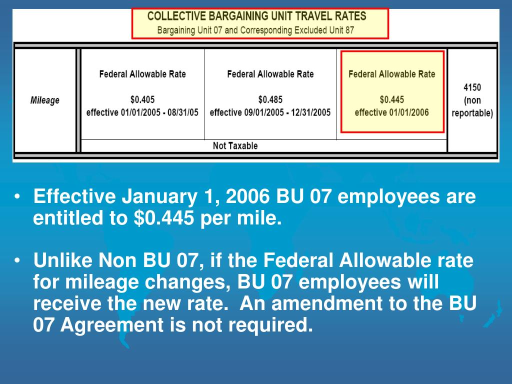 Effective January 1, 2006 BU 07 employees are entitled to $0.445 per mile.