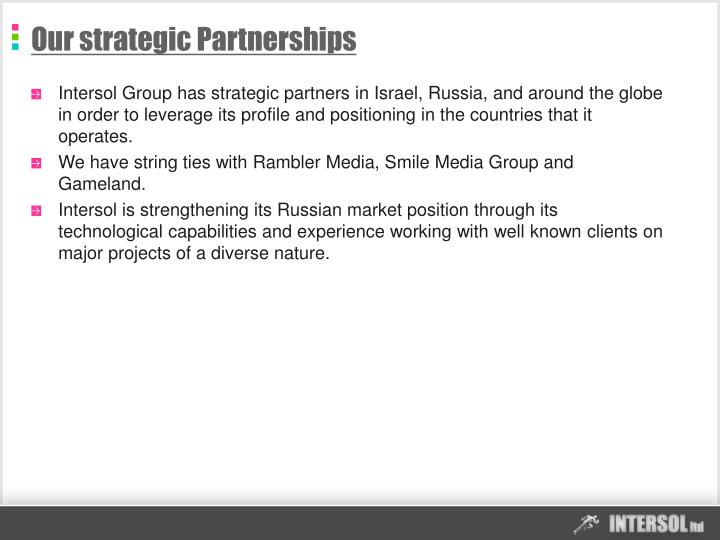 Our strategic Partnerships